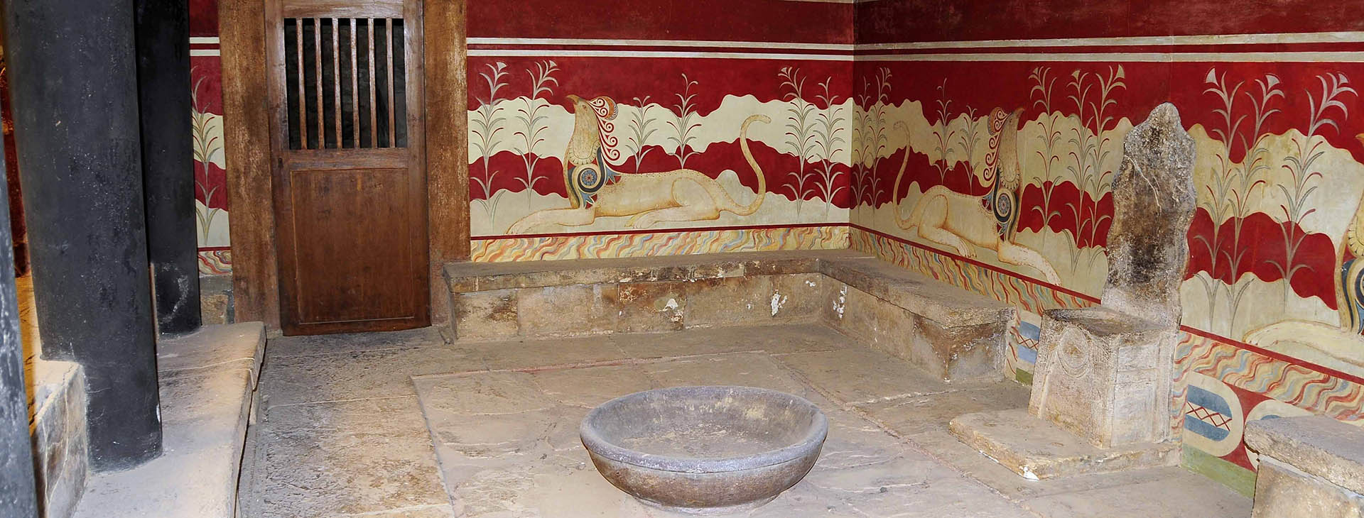The throne room at the Minoan palace of Knossos, Heraklion