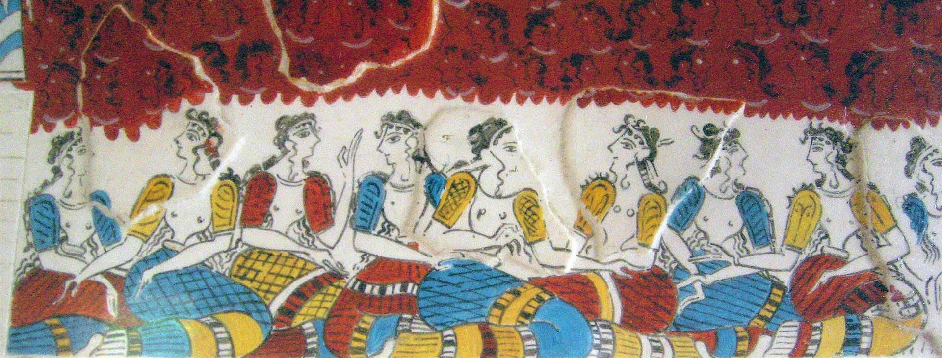 The ladies of the court, fresco at the Minoan palace of Knossos, Heraklion