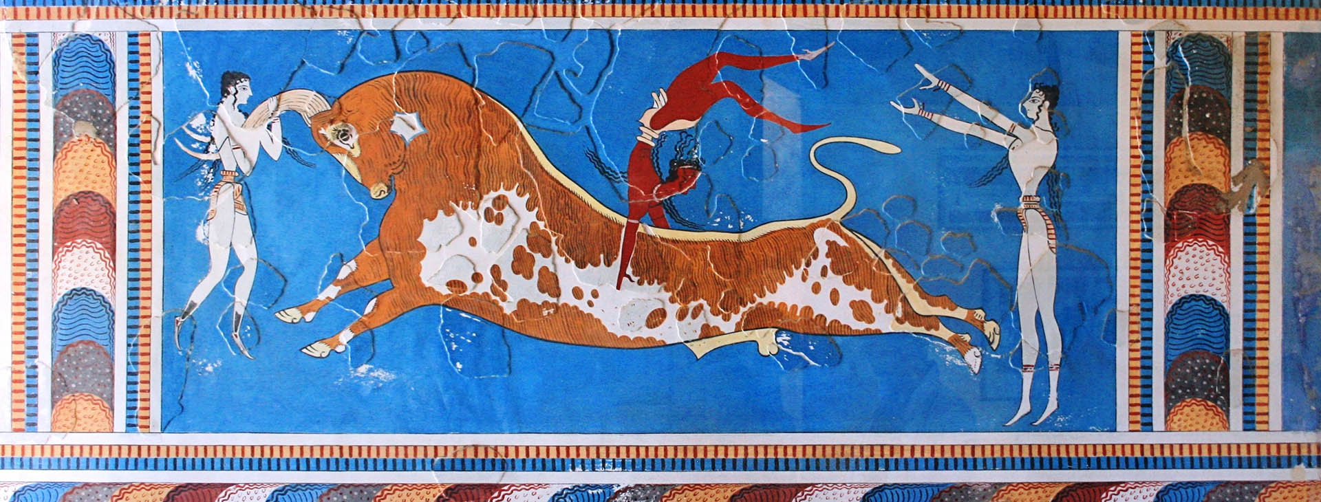 Bull-leaping, fresco at the Minoan palace of Knossos, Heraklion