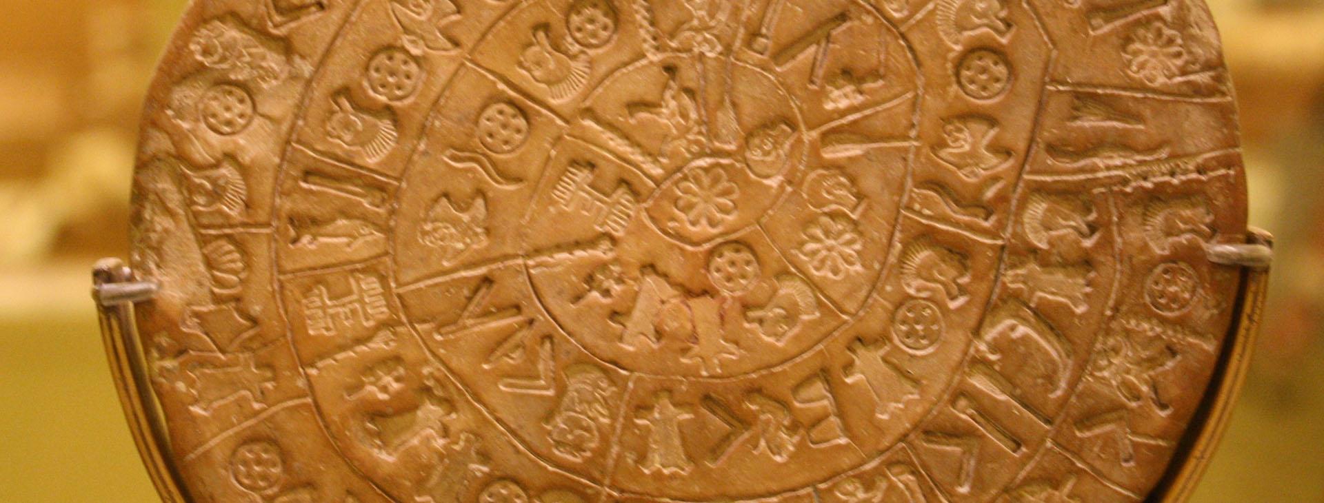 Phaestos disk side A, Heraklion Archaeological Museum
