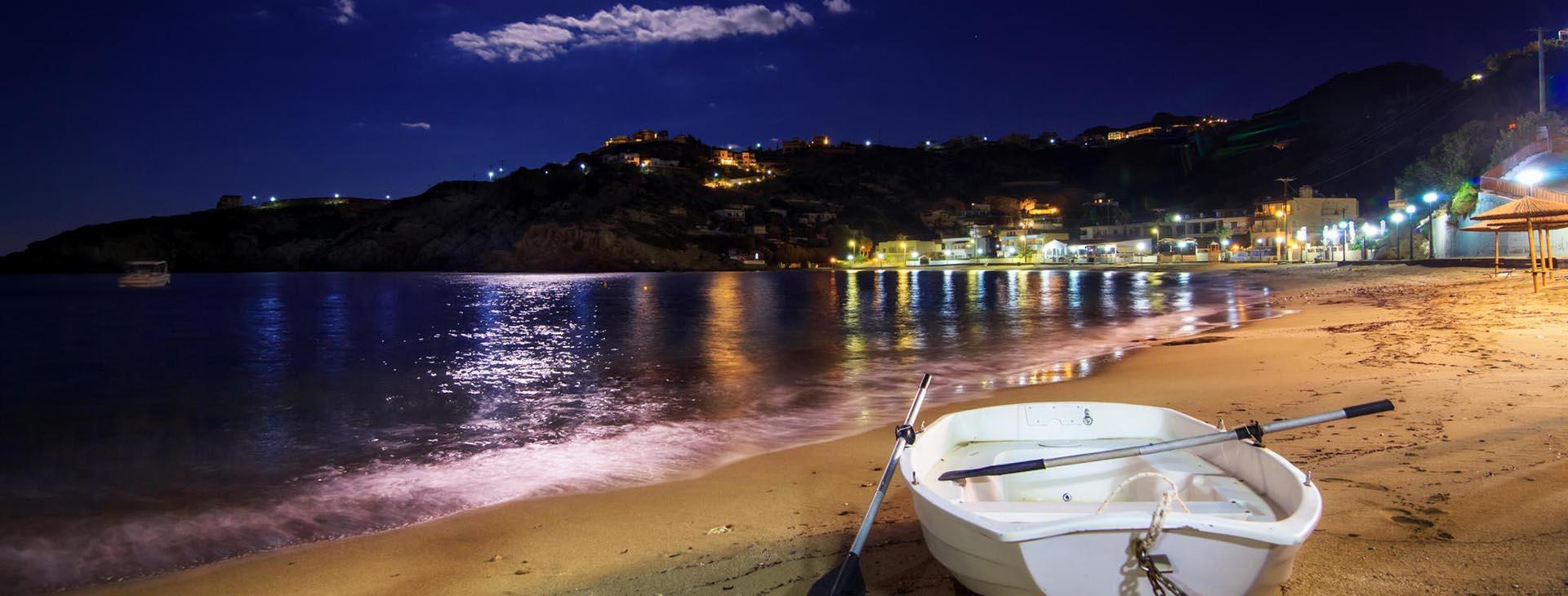 Ligaria beach near Heraklion by night, Heraklion