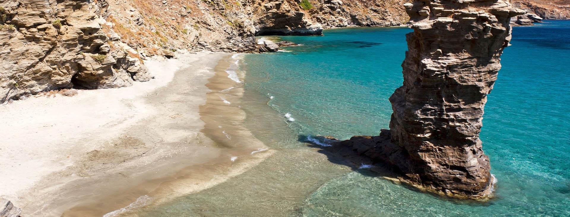 Olds woman jump (Grias Pidima) beach, Andros island