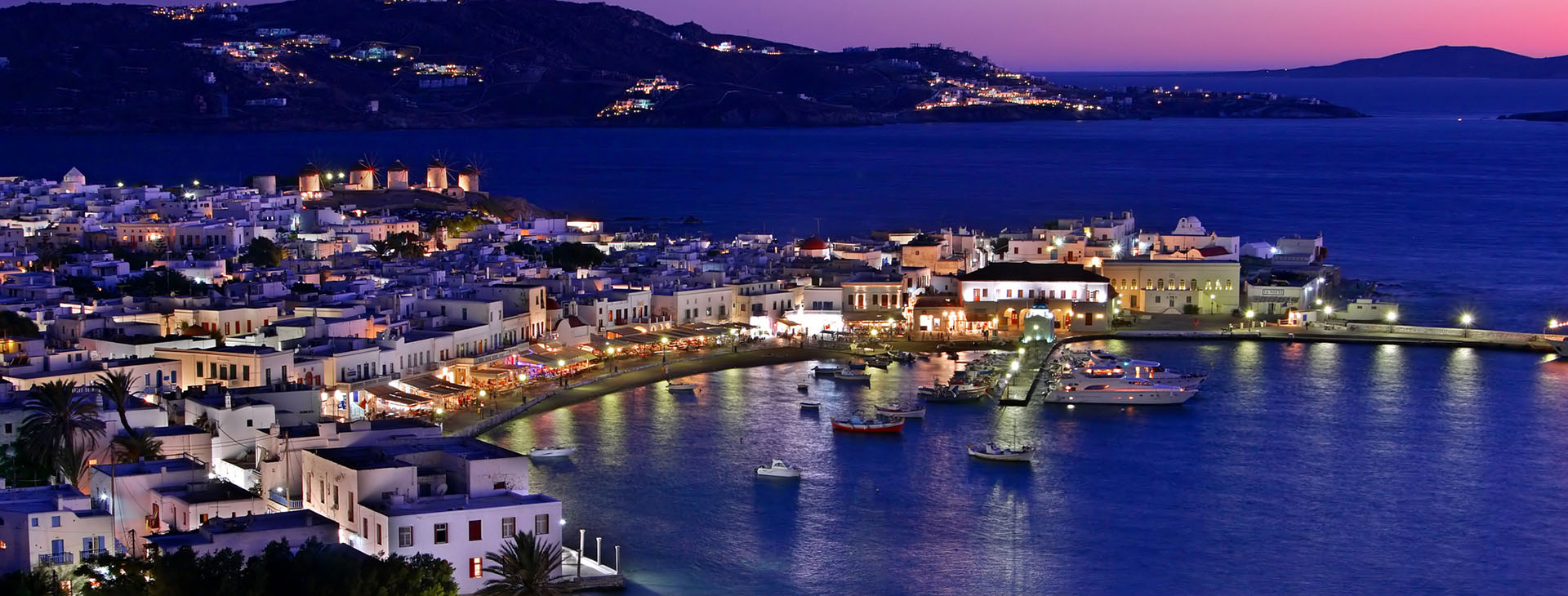 Mykonos island by night
