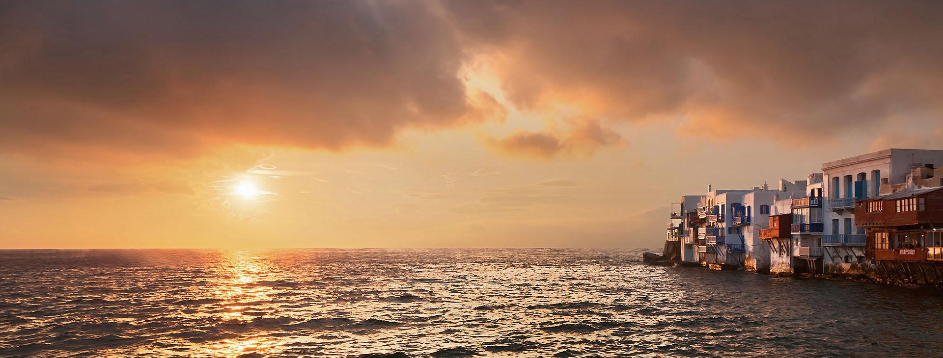 Sunset at Mykonos island