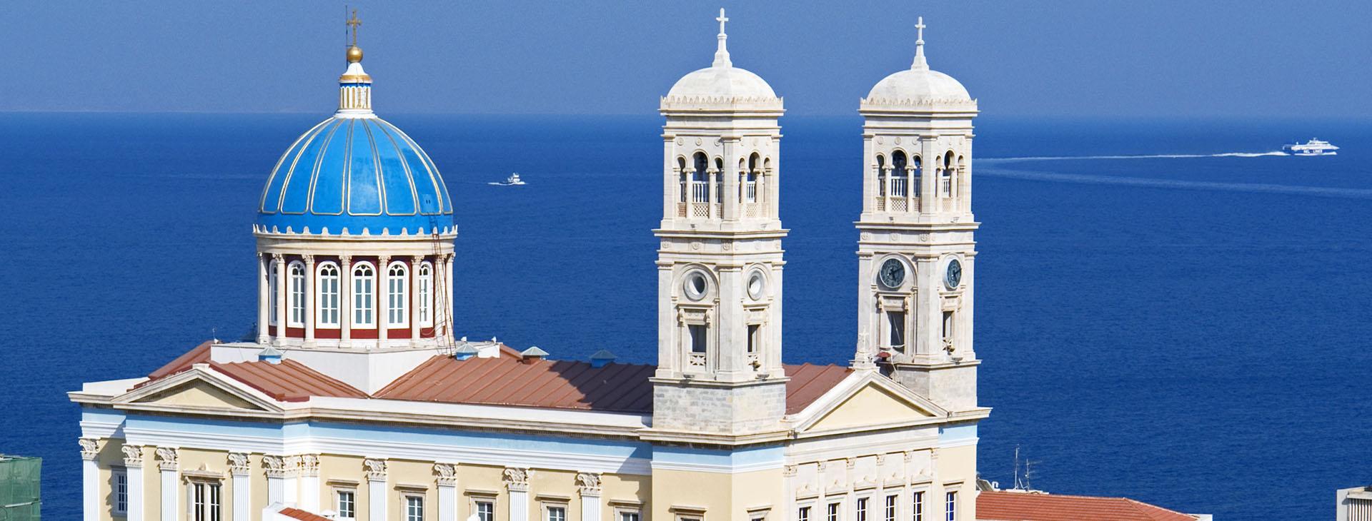 Agios Nikolaos, landmark of the island, Ermoupolis town, Syros island