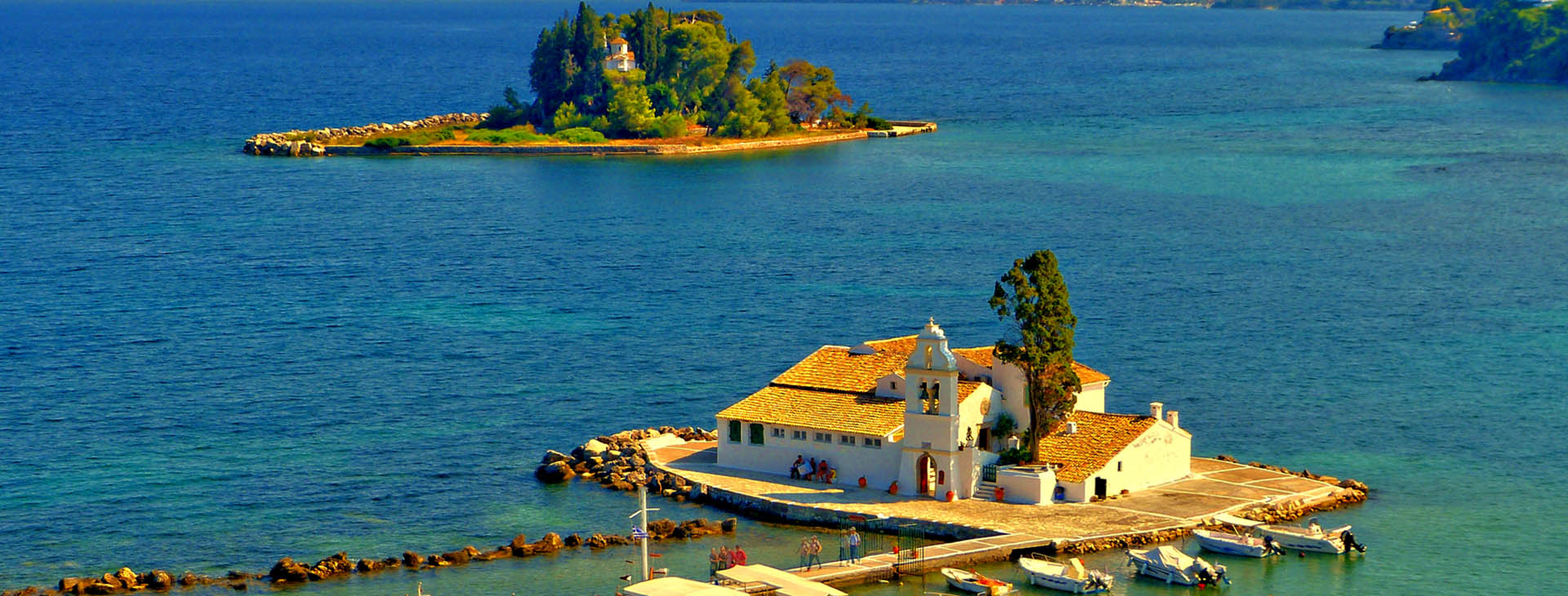 Islet of Pontikonisi and Vlacherna Monastery at Corfu island