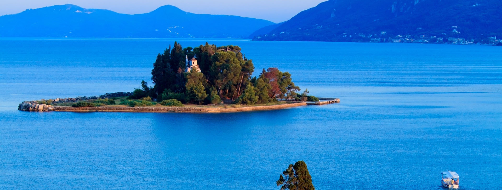 Islet of Pontikonisi at Corfu island