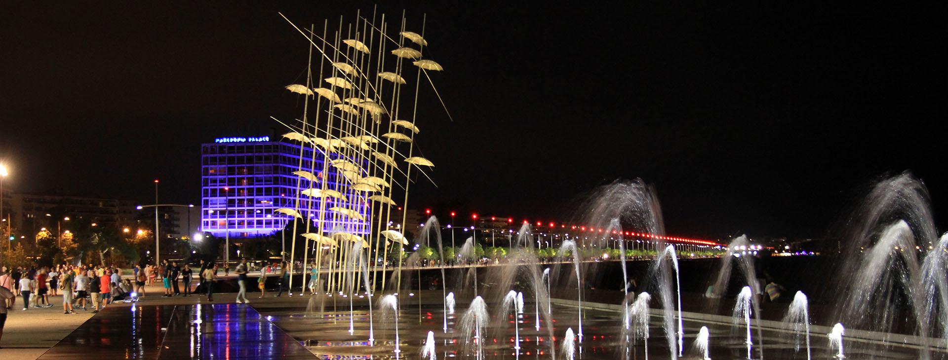 """Umbrellas"" modern art statue by night, seafront of Thessaloniki City"