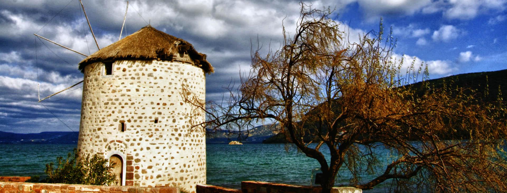 Old windmill at Geras' gulf, Lesvos island