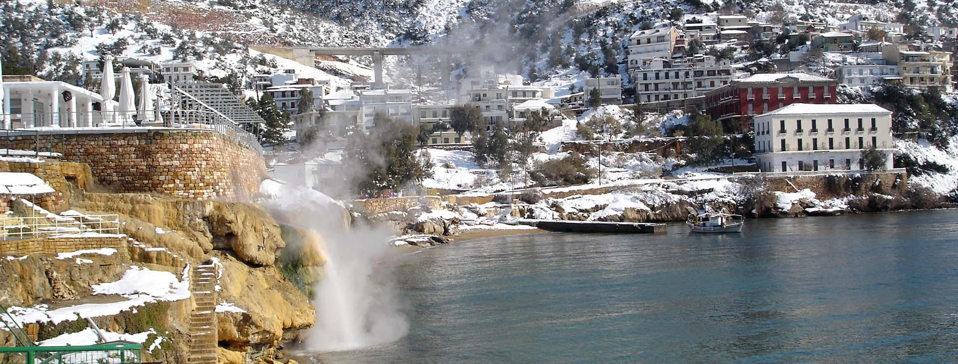Hot spring at Loutrá Edipssoú, Evia